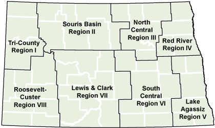 map of North Dakota with planning regions and counties outlined